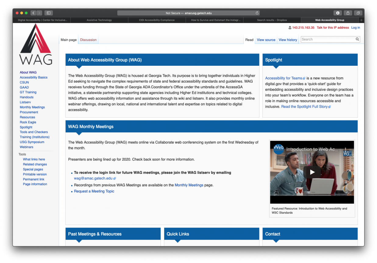 A screenshot of the web accessibility group website.
