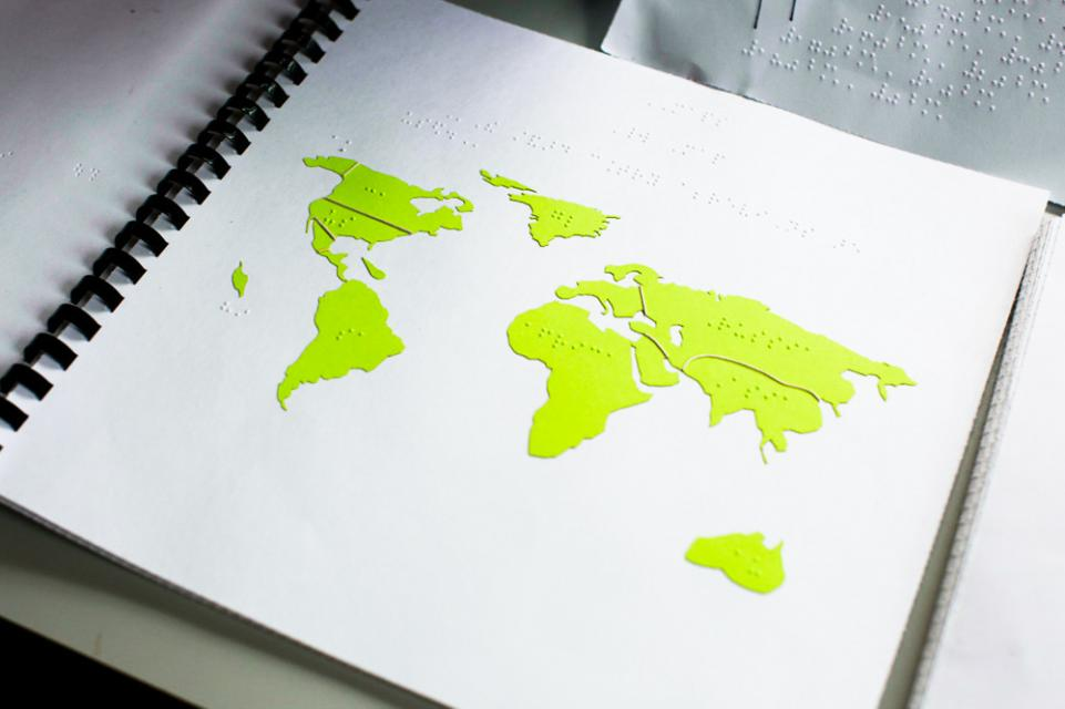 A braille tactile map of the world's continents
