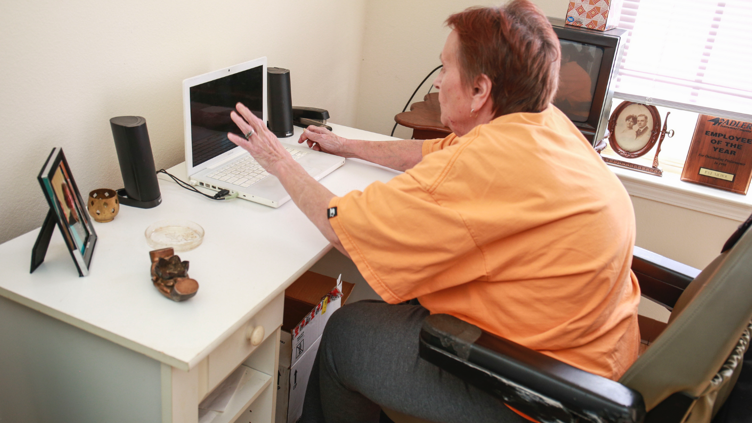 An older woman in a wheelchair using a laptop computer.