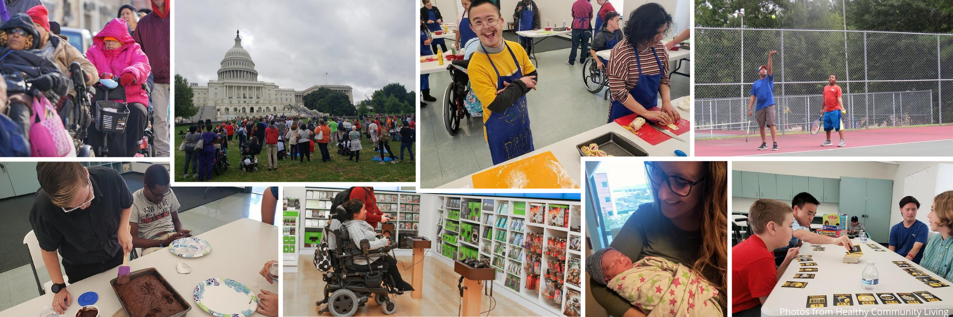 A collage of photos showing various individuals with disabilities enjoying various activities.